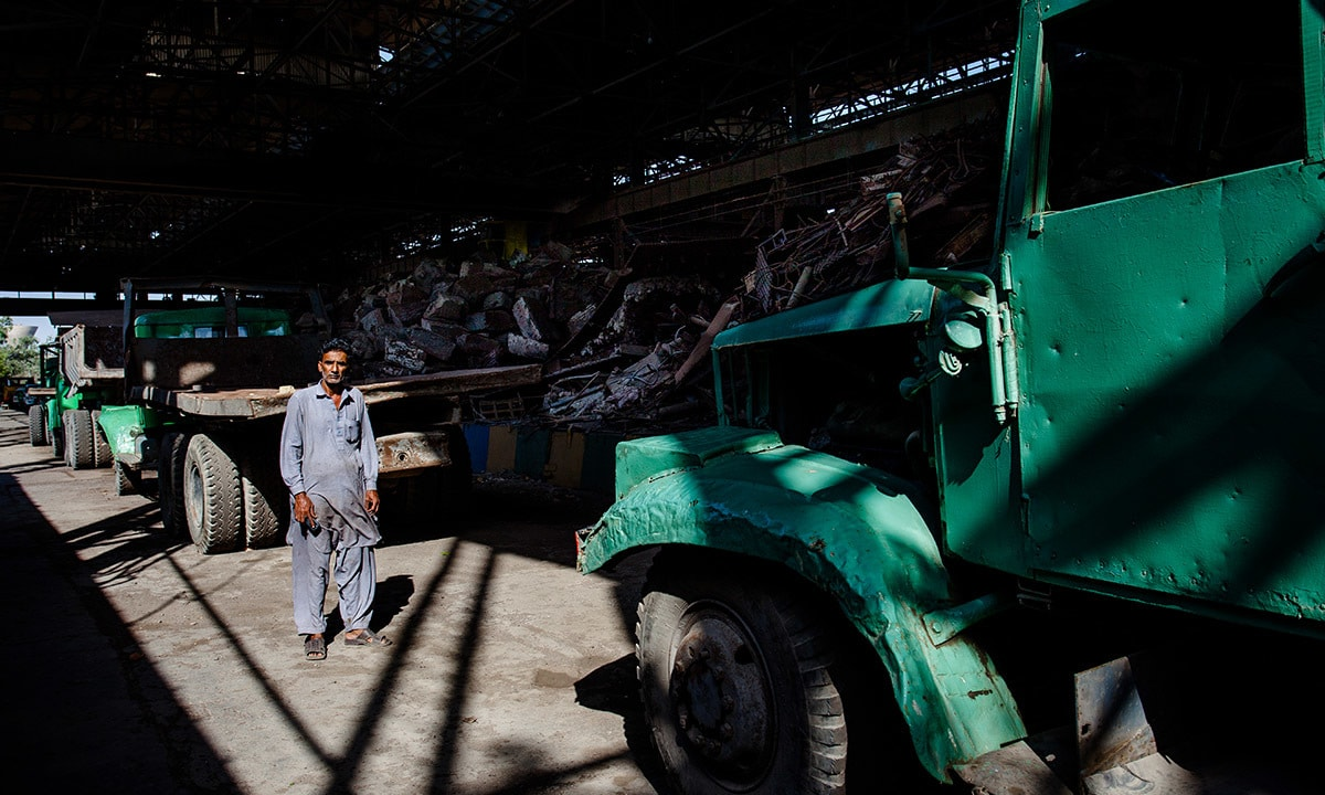 Metal scrap at the scrapyard inside Pakistan Steel Mills