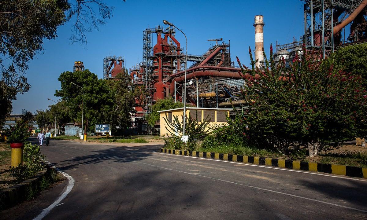 The iron making department inside Pakistan Steel Mills