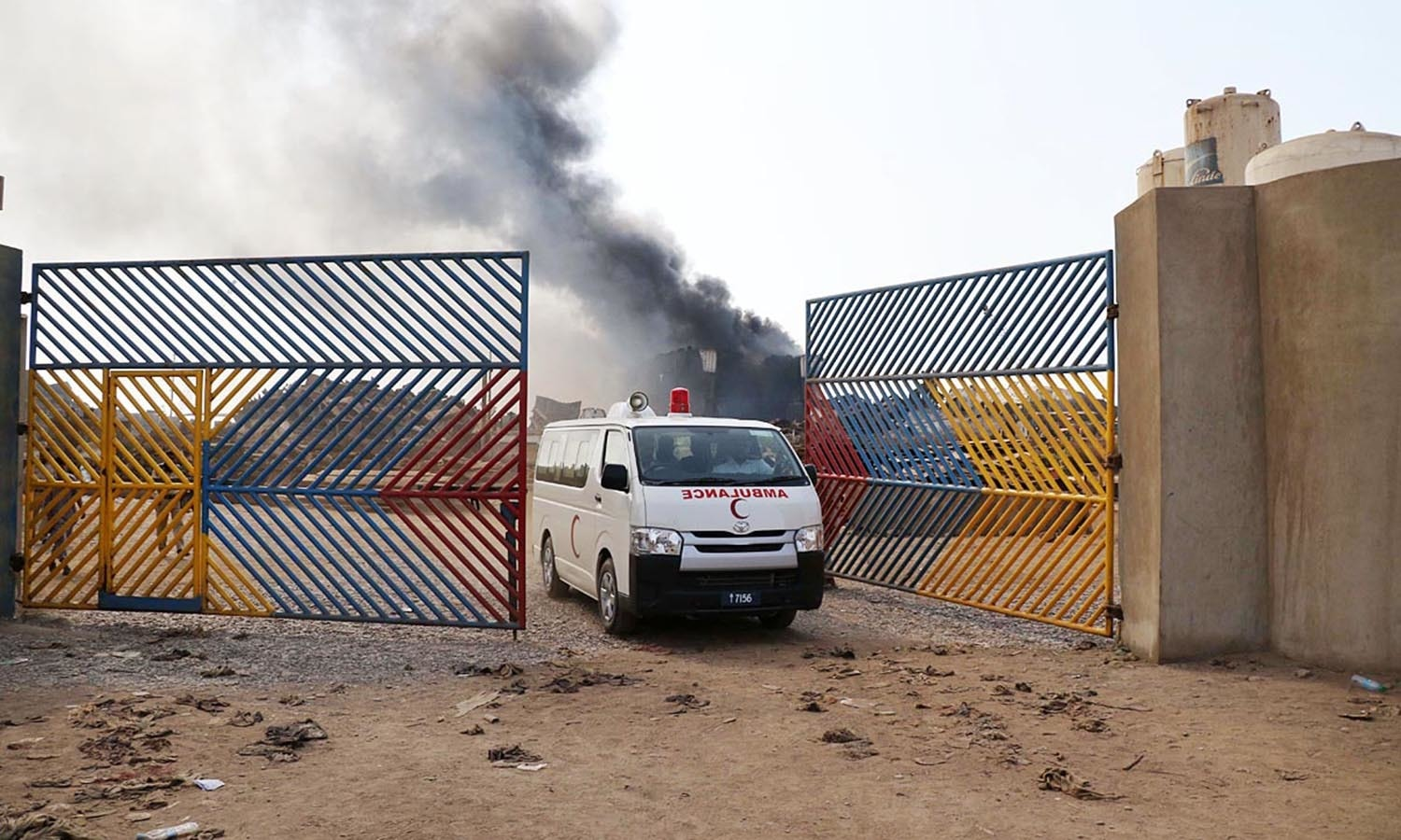 A Pakistan Navy ambulance seen coming out from Gadani Ship Breaking Yard. ─Online
