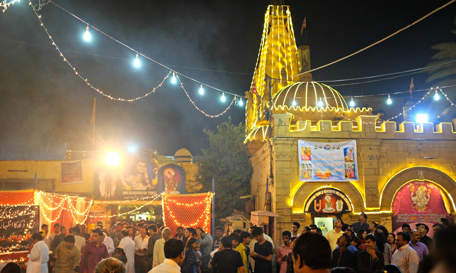The main temple was garlanded with lights and flowers.