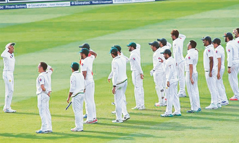 Pakistan added a theatrical element to victory celebrations in England