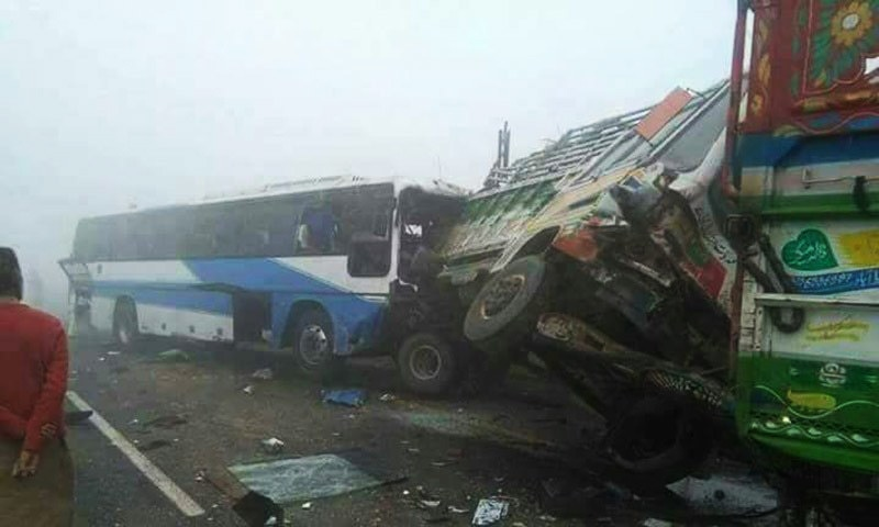 12 travellers were killed in a pile-up of vehicles on motorway.— Photo by Zaheer Abbas Sial