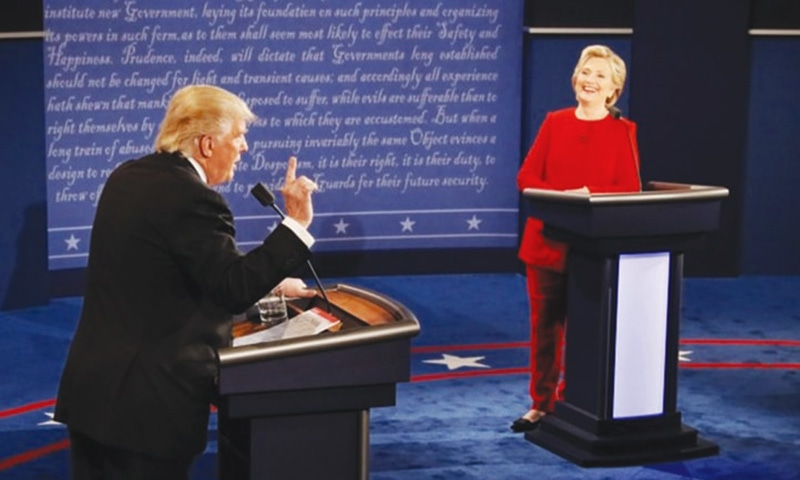 Hillary Clinton and Donald Trump during the first presidential debate — Reuters