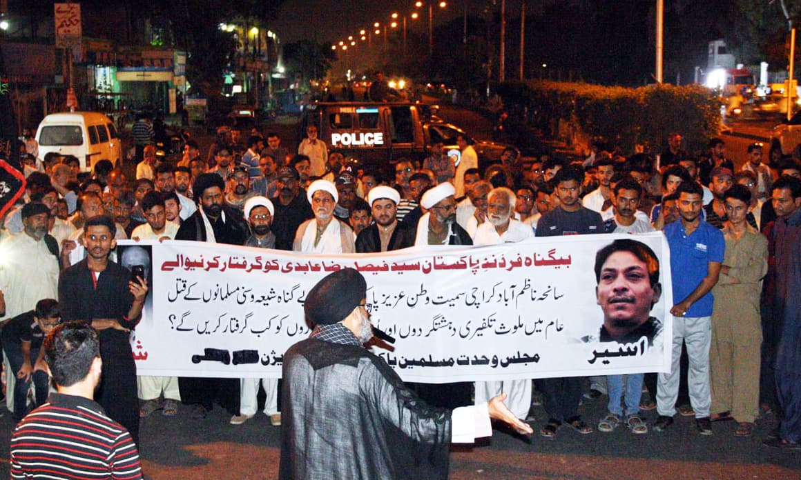 Majlis Wahdat-i-Muslimeen holds protests at Numaish Chowrangi. —Online