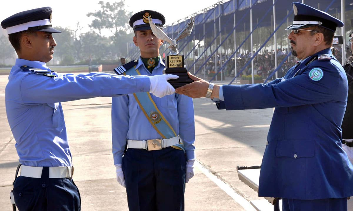 Commander Saudi Air Force Major General Mohammad Saleh Al Otaibi awarding best Allied Cadet Trophy to a Saudi cadet Mohammad Bin Khalid Al Malki. –Online