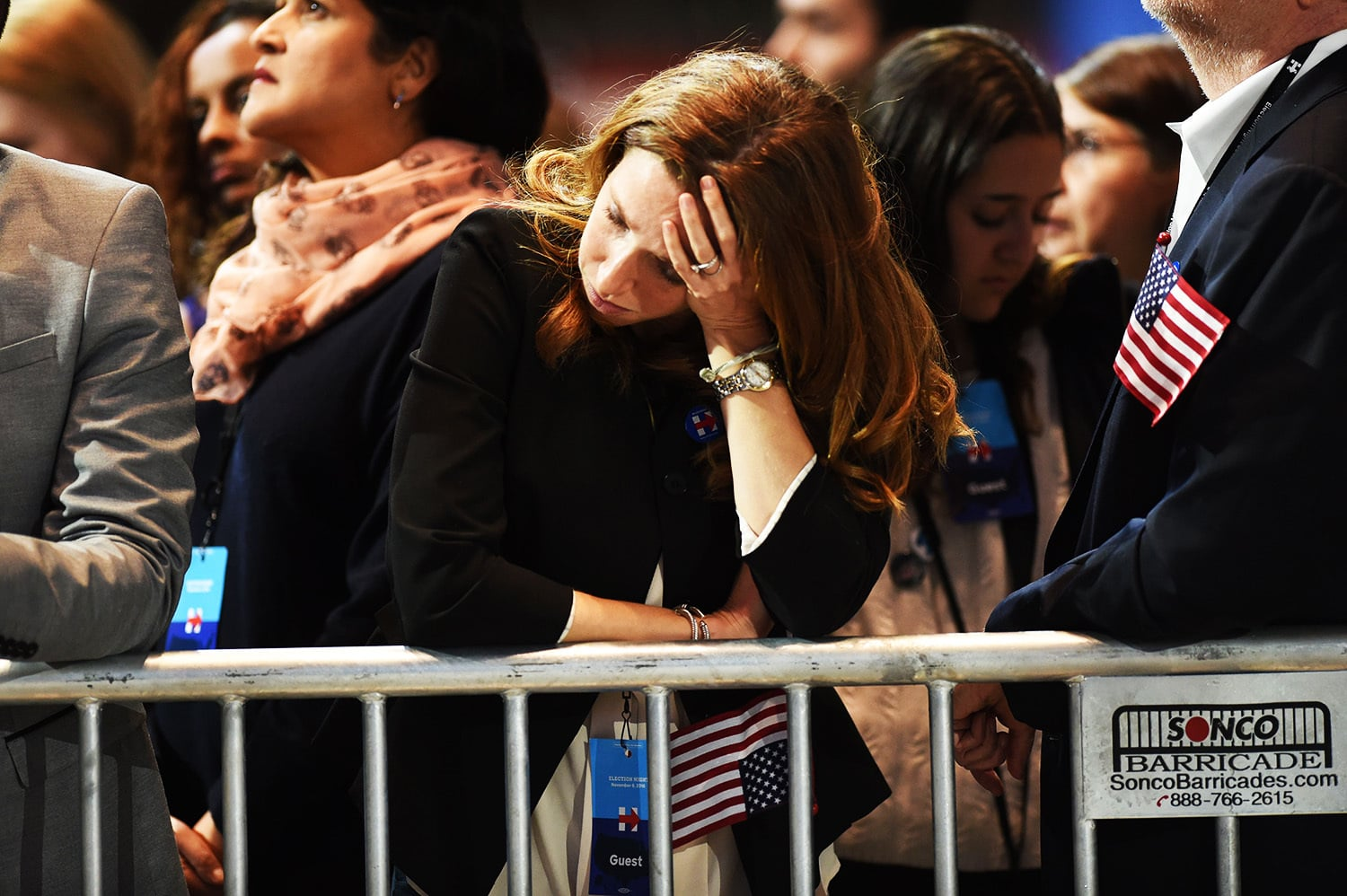 A supporter of Hillary Clinton reacts as elections returns are reported during election night.—AFP