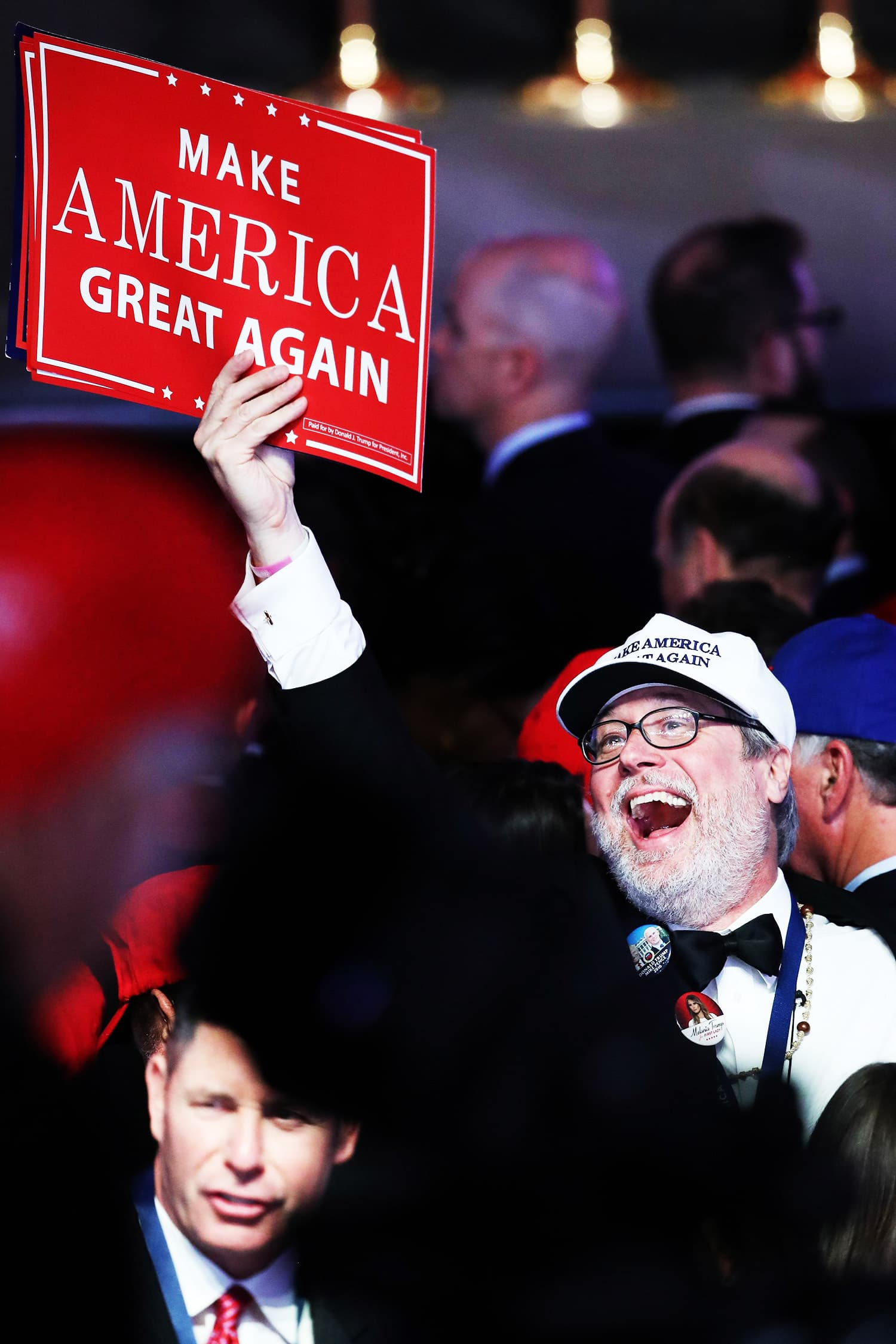 People cheer at Republican presidential nominee Donald Trump's election night event in New York City. —AFP