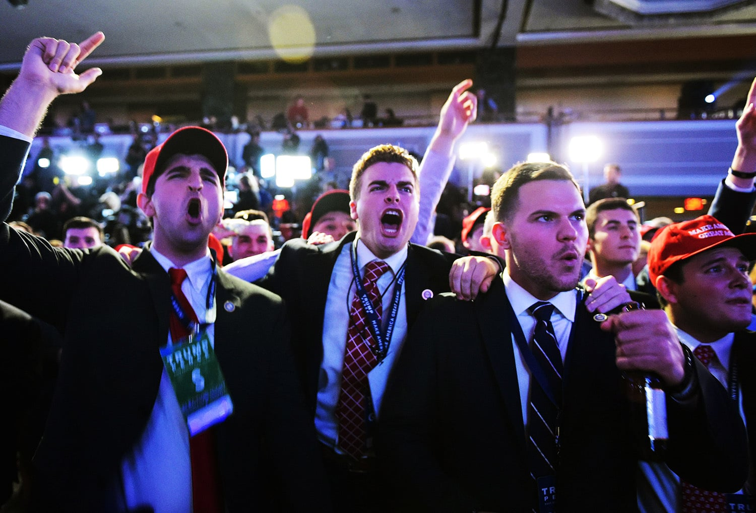 Supporters of Republican presidential nominee Donald Trump reacts to early results.—AFP