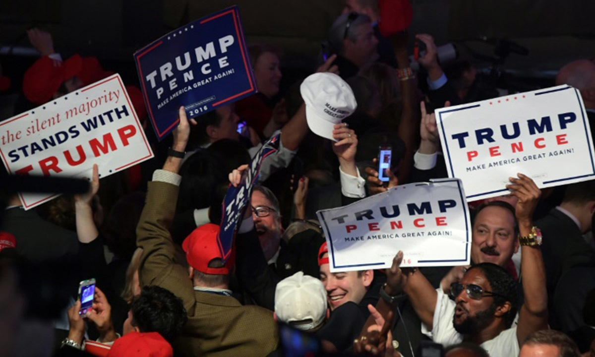 Supporters of Donald Trump celebrate in New York during election night | AFP