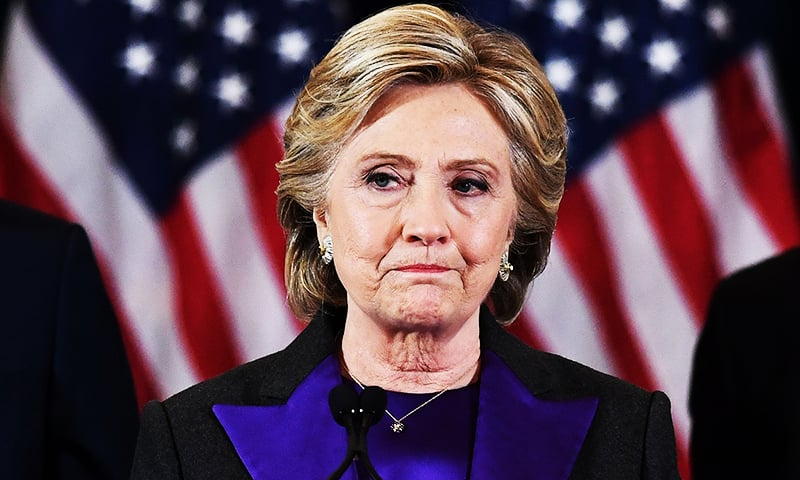 US Democratic presidential candidate Hillary Clinton makes a concession speech after being defeated by Republican president-elect Donald Trump. ─ AFP