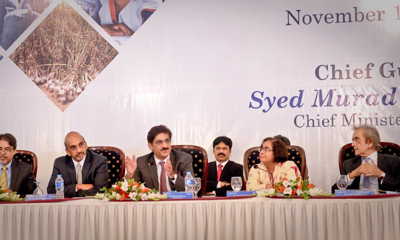KARACHI: Sindh Chief Minister Syed Murad Ali Shah speaks during a panel discussion at the launch of 'Pakistan Development Update — Nov 2016' on Thursday.—Fahim Siddiqi