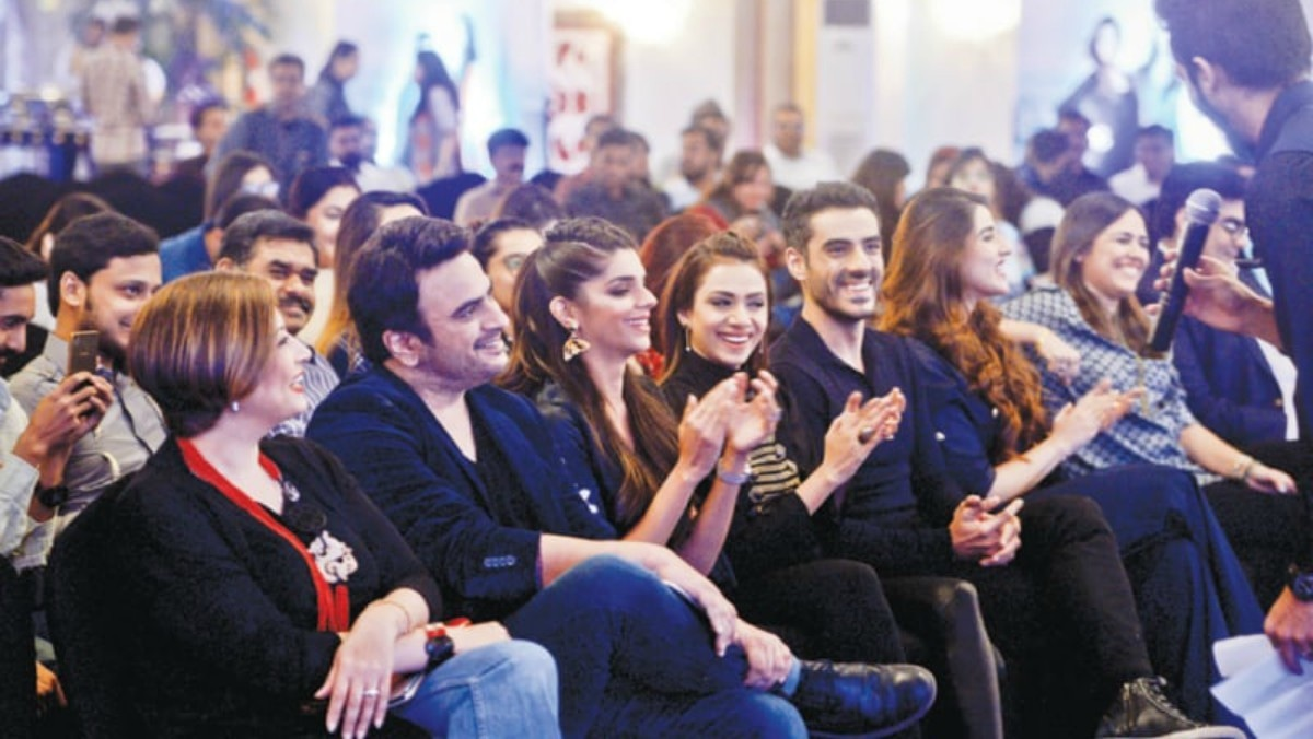 The cast of the film laughing at a joke cracked by Ali Kazmi at the event yesterday — Fahim Siddiqi / White Star