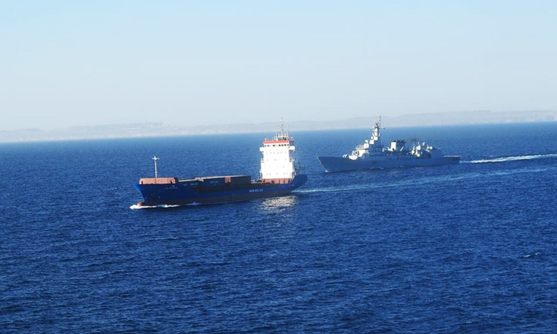 CPEC ships  being guarded  by navy vessels