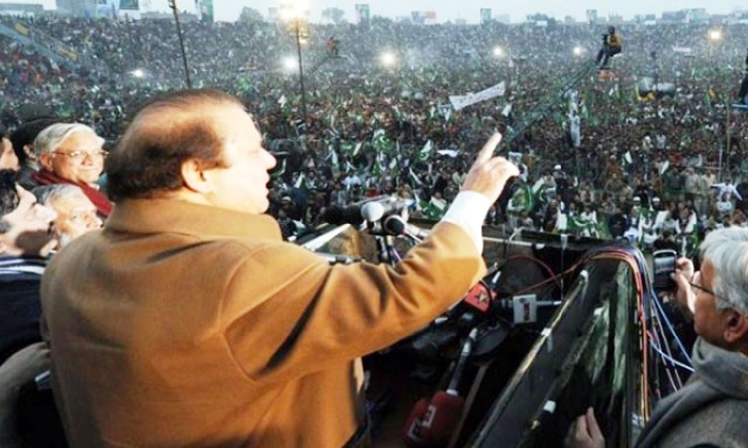 The current Pakistan PM and chief of the centrist PML-N, Nawaz Sharif, speaking at a rally in the Punjab city of Gujranwala. The PML-N has been Punjab's largest political party ever since the 1990s.