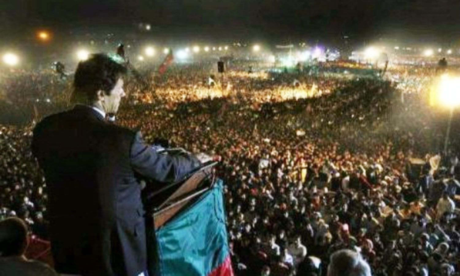 PTI chairman, Imran Khan, holding a rally in KP. His populist centre-right party, the PTI, swept the provincial polls in KP in 2013.