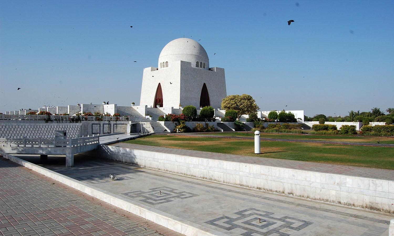 The marble mausoleum of the founder of Pakistan, Muhammad Ali Jinnah in Karachi. Karachi was Jinnah's birthplace.