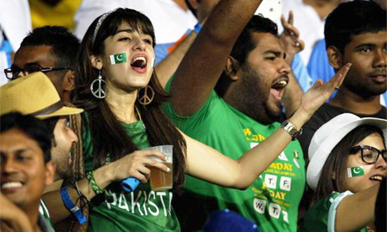 Section of a crowd at Lahore's Gaddafi Cricket Stadium. (Pic: The News)