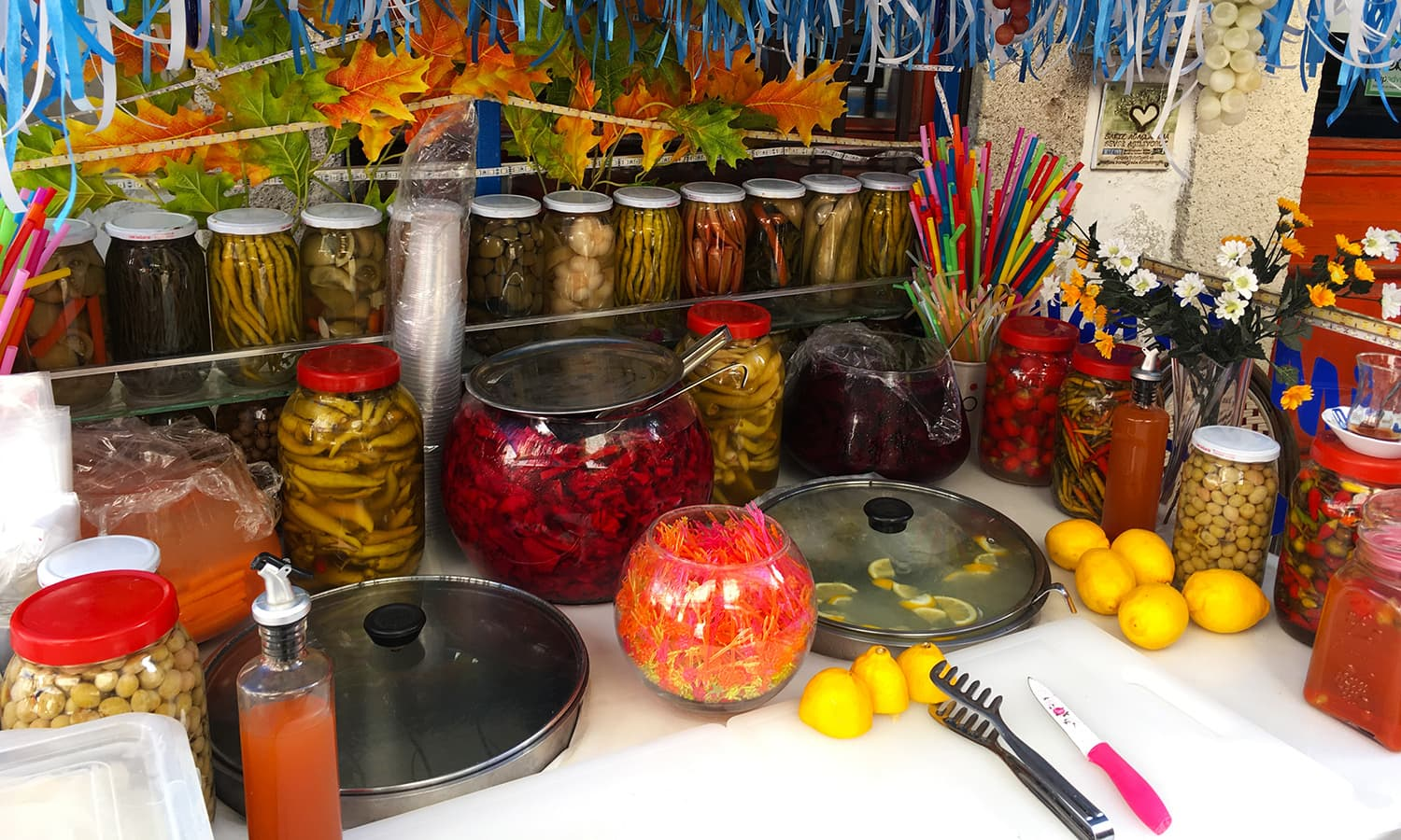 A stall of pickled vegetables.