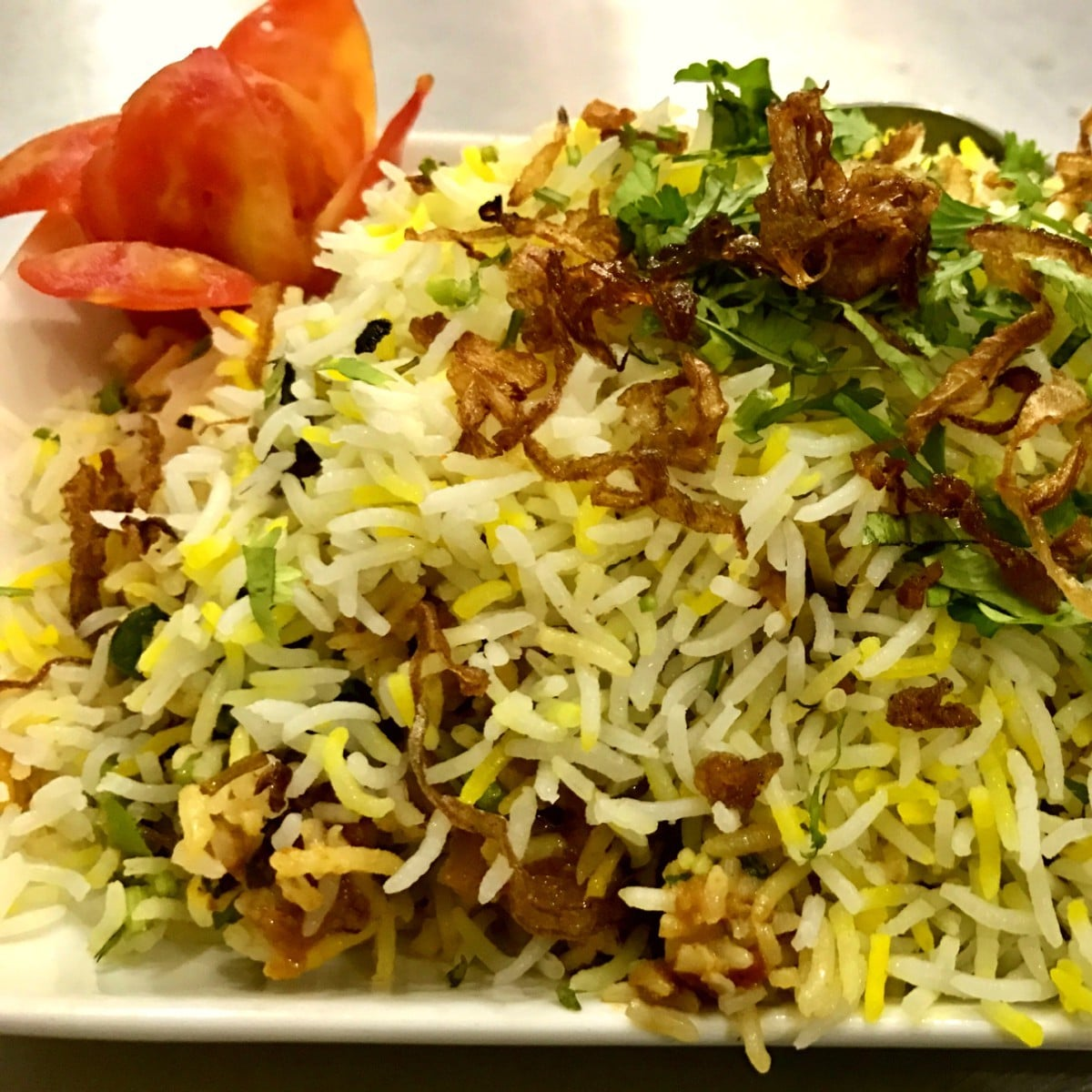 The Bombay biryani was authentic and delicious
