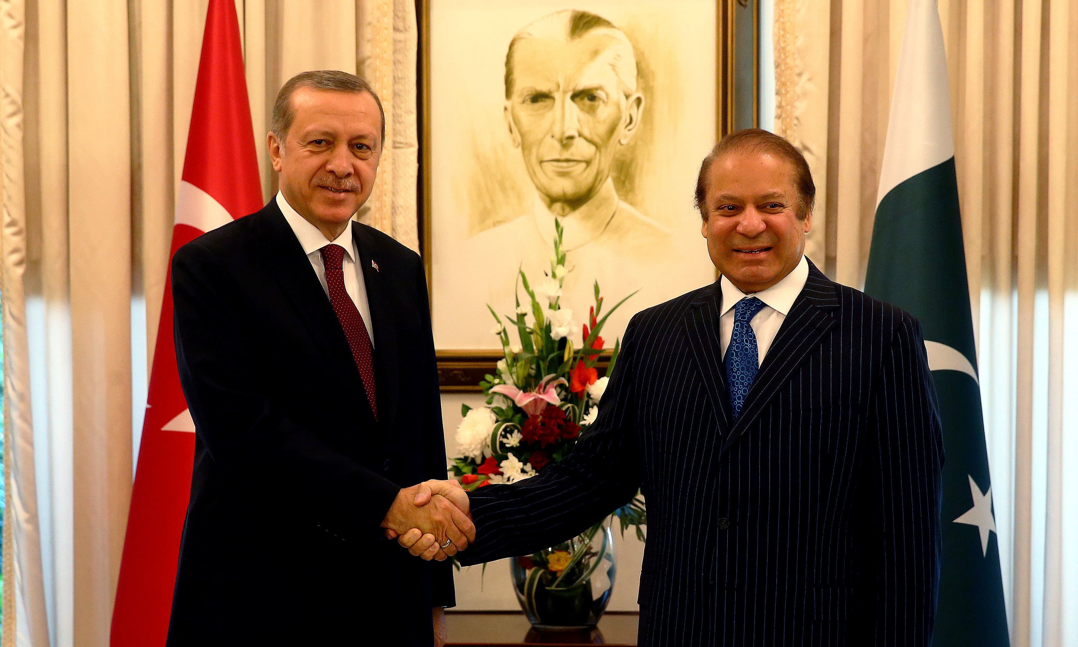 Turkish President Tayyip Erdogan meets PM Nawaz Sharif. ─Reuters
