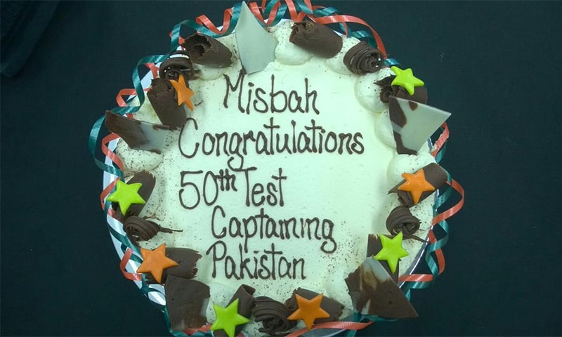 The Pakistani team celebrated Misbah's 50 matches as Test captain with a cake. ─ Photo courtesy PCB Twitter