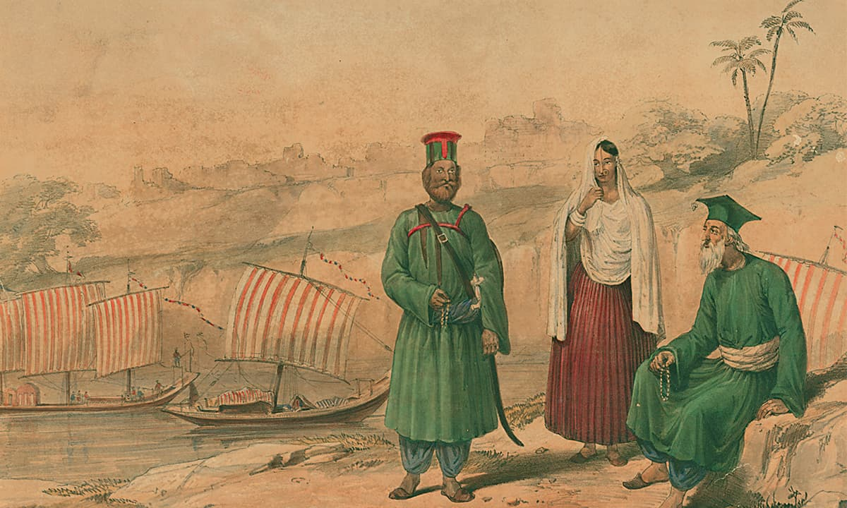 A lithograph of a Sindhi woman, a priest and a soldier by James Atkinson | *Karachi Under the Raj: 1843 - 1947*