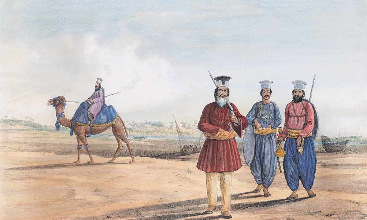 A lithograph of a Sindhi man and his attendants by James Atkinson | *Karachi Under the Raj: 1843 - 1947*