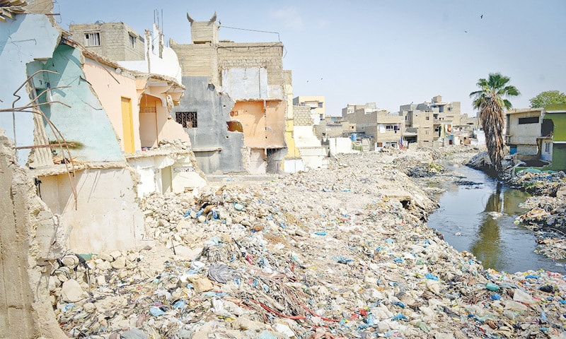 A SECTION of the demolished structures along Gujjar Nala on Sunday.—Fahim Siddiqi / White Star