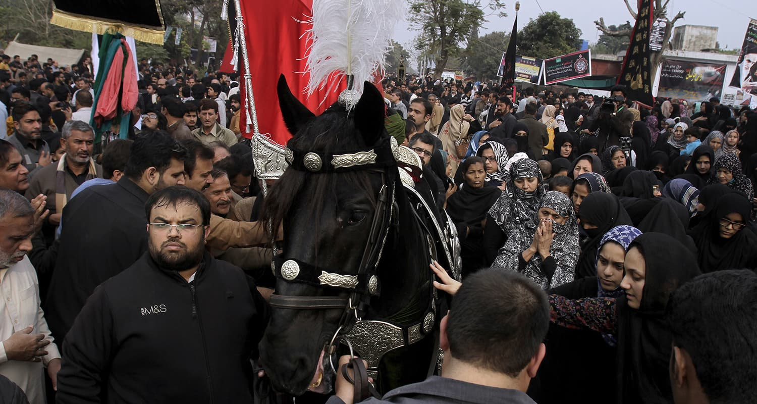 People touch a horse, symbolising Zuljinah, the horse that carried Hazrat Imam Hussain (RA) during the battle of Karbala, at the procession marking Chehlum. — AFP