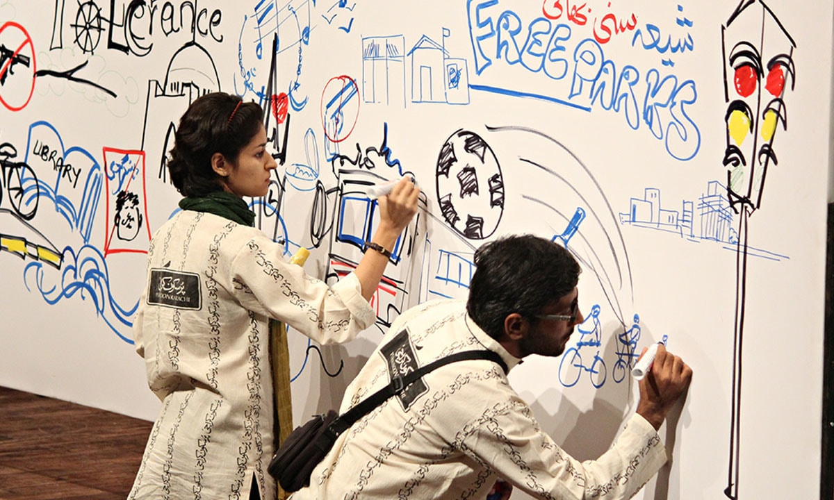 Interactive mural being made with the help of the audience at Pursukoon Karachi 2013   Dawn.com