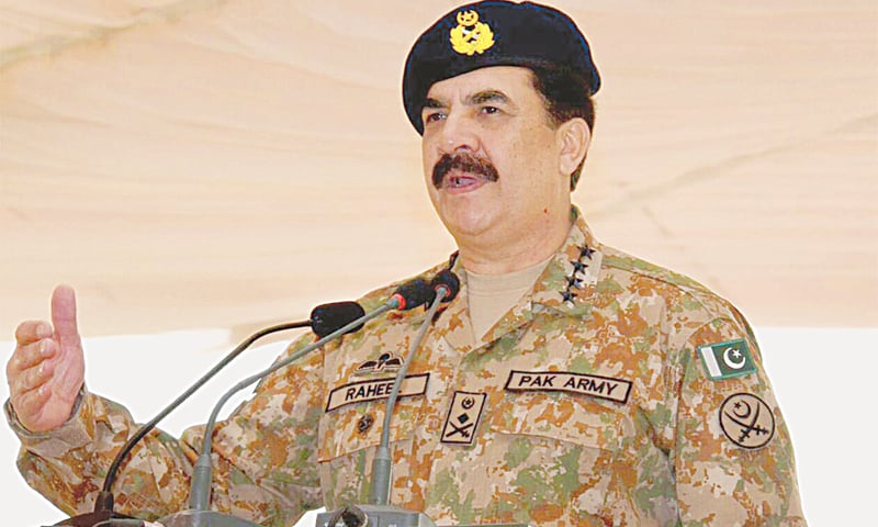 Chief of the Army Staff Gen Raheel Sharif addresses a gathering of soldiers and Rangers during his farewell visit to the Lahore Garrison on Monday. — INP