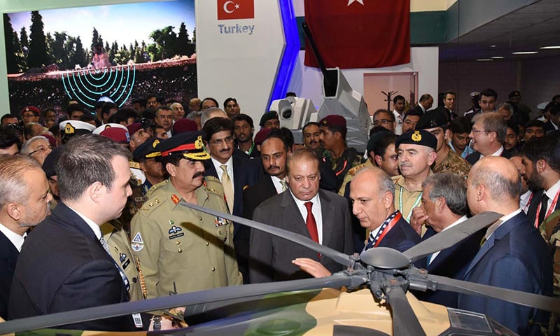 Prime Minister Nawaz Sharif, Chief of Army Staff General Raheel Sharif and Sindh Chief Minister Syed Murad Ali Shah seen at IDEAS 2016. –Online