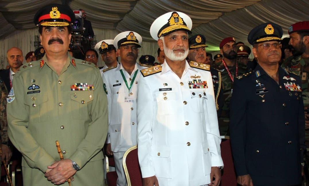 General Raheel Sharif, Air Chief Marshal Sohail Aman and Admiral Muhammad Zakaullah attend the opening ceremony of IDEAS 2016 at Expo Centre Karachi. –Navy PR
