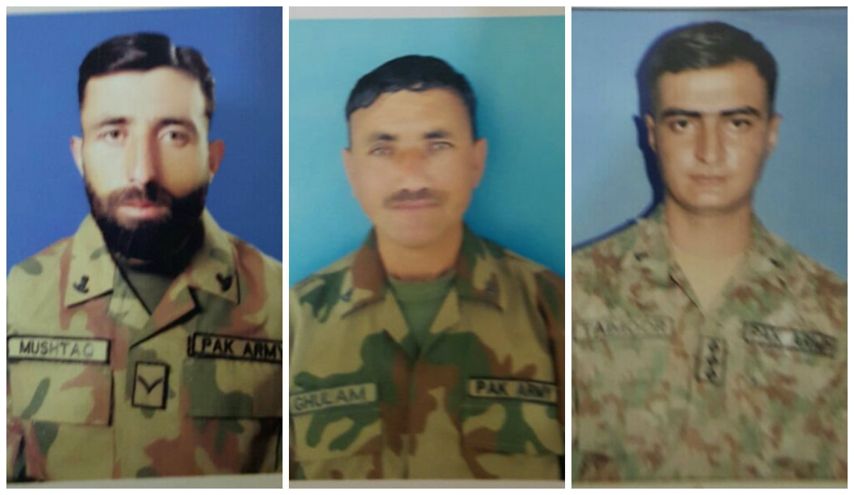 The slain soldiers (L-R) Havaldar Mushtaq Hussain, Lance Naik Ghulam Hussain, and Captain Taimoor Ali Khan. ─ Photo courtesy ISPR.