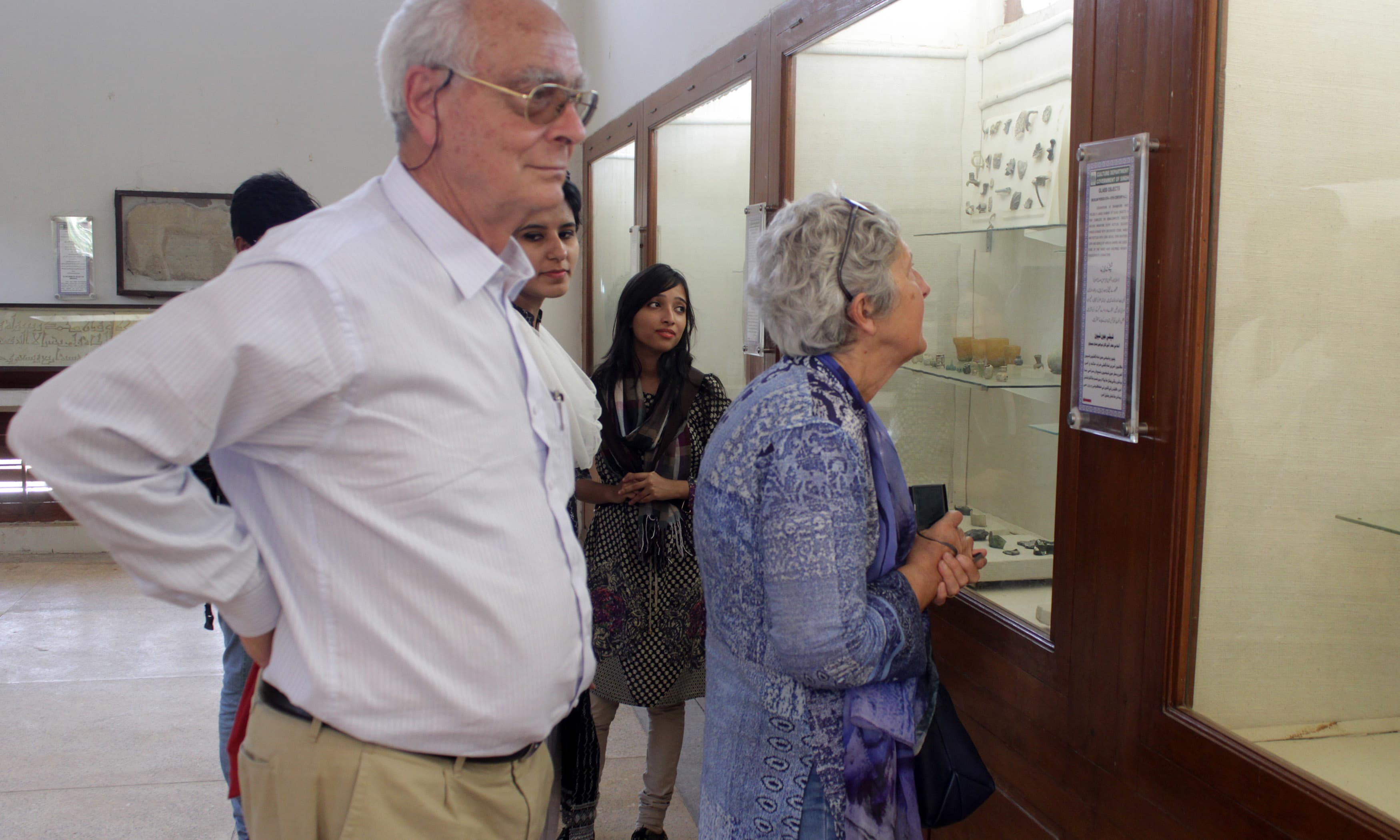 Foreigners taking keen interest in the relics displayed at Bhanbhore Museum. —Tauseef Mallick