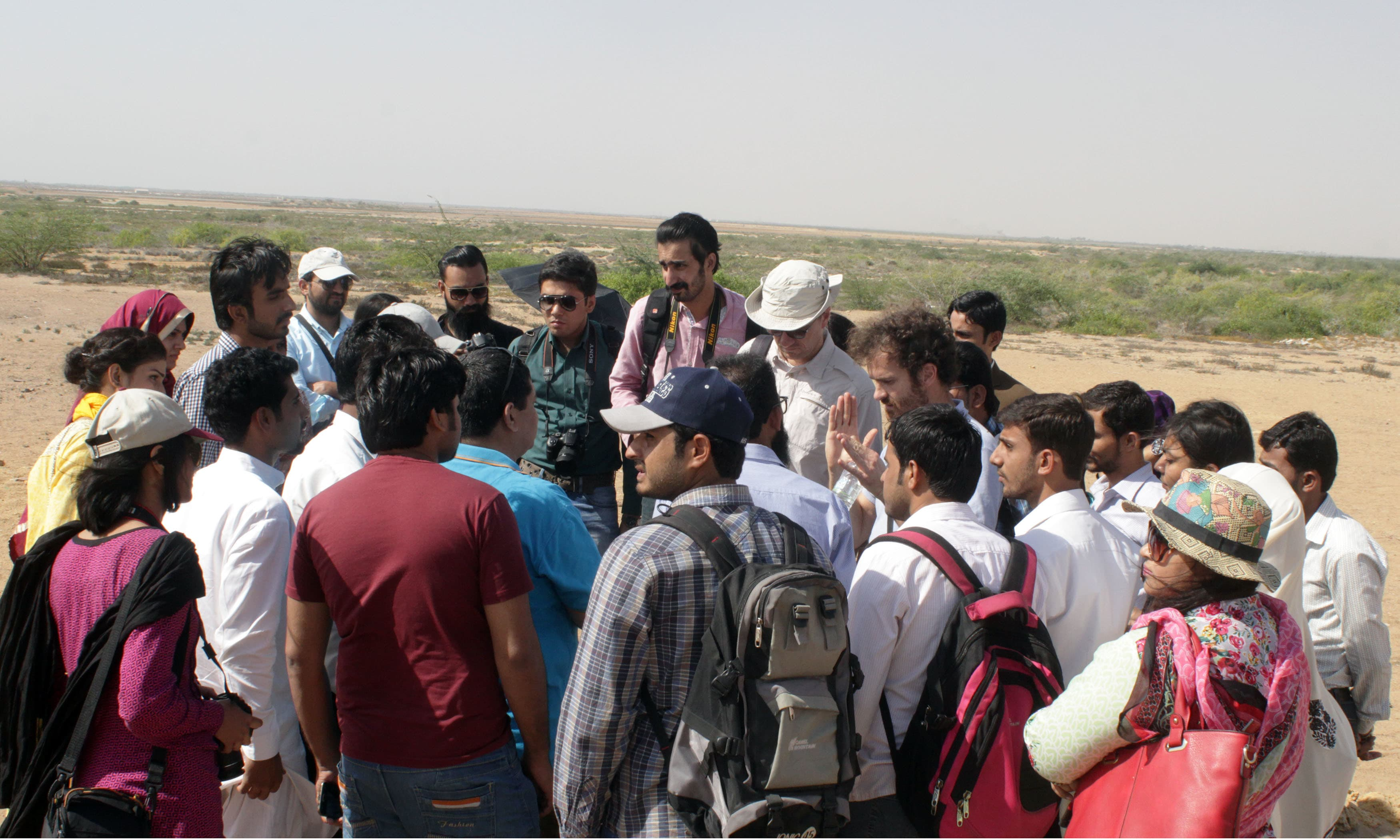 Italian archeological excavators brief students about the history on the ancient city. —Tauseef Mallick