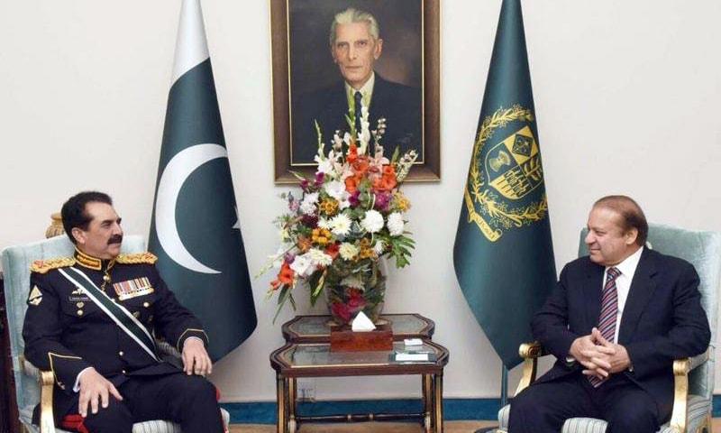 Prime Minister Nawaz Sharif and Army Chief General Raheel Sharif during farewell ceremony. ─RadioPakistan