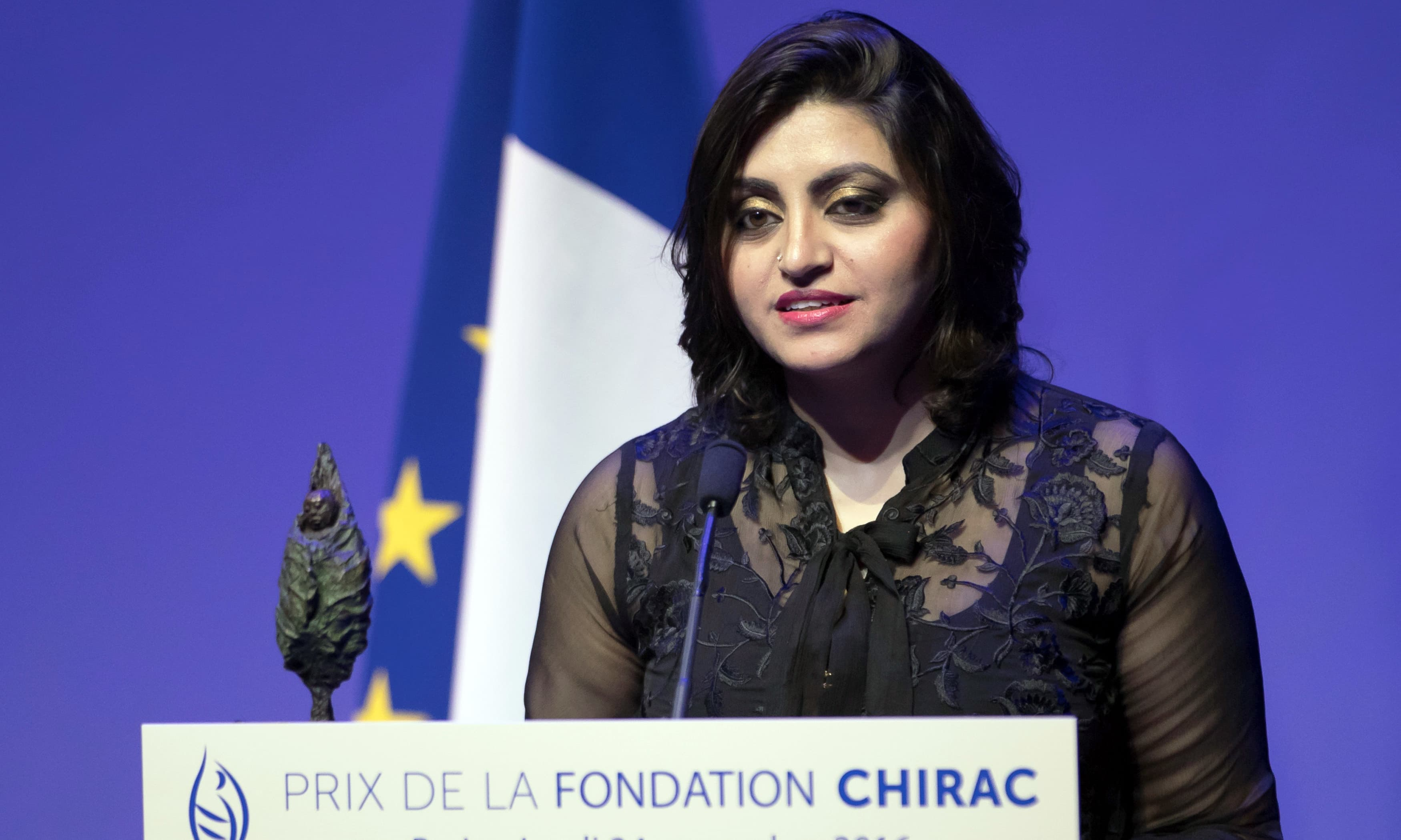Gulalai Ismail delivers an acceptance speech after being awarded the Prize for Conflict Prevention for the work of her organisation 'Aware Girls' promoting women's issues and equality. —Reuters