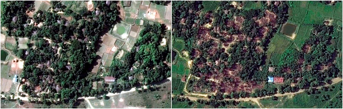Pre-destruction (L) and post-destruction (R) satellite imagery of Wa Peik village, Maungdaw district, Myanmar. ─ Reuters