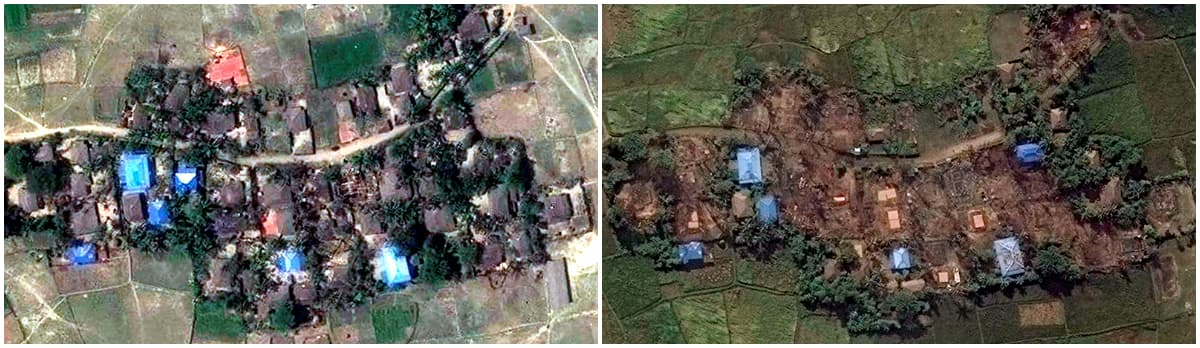 Pre-destruction (L) and post-destruction (R) satellite imagery of Kyet Yoe Pyin village, Maungdaw district, Myanmar. ─ Reuters