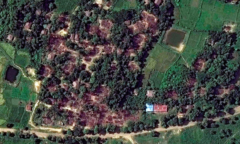 سیٹلائٹ تصاویر میں جلے گھروں کو دیکھا جا سکتا ہے—فوٹو: اے ایف پی.