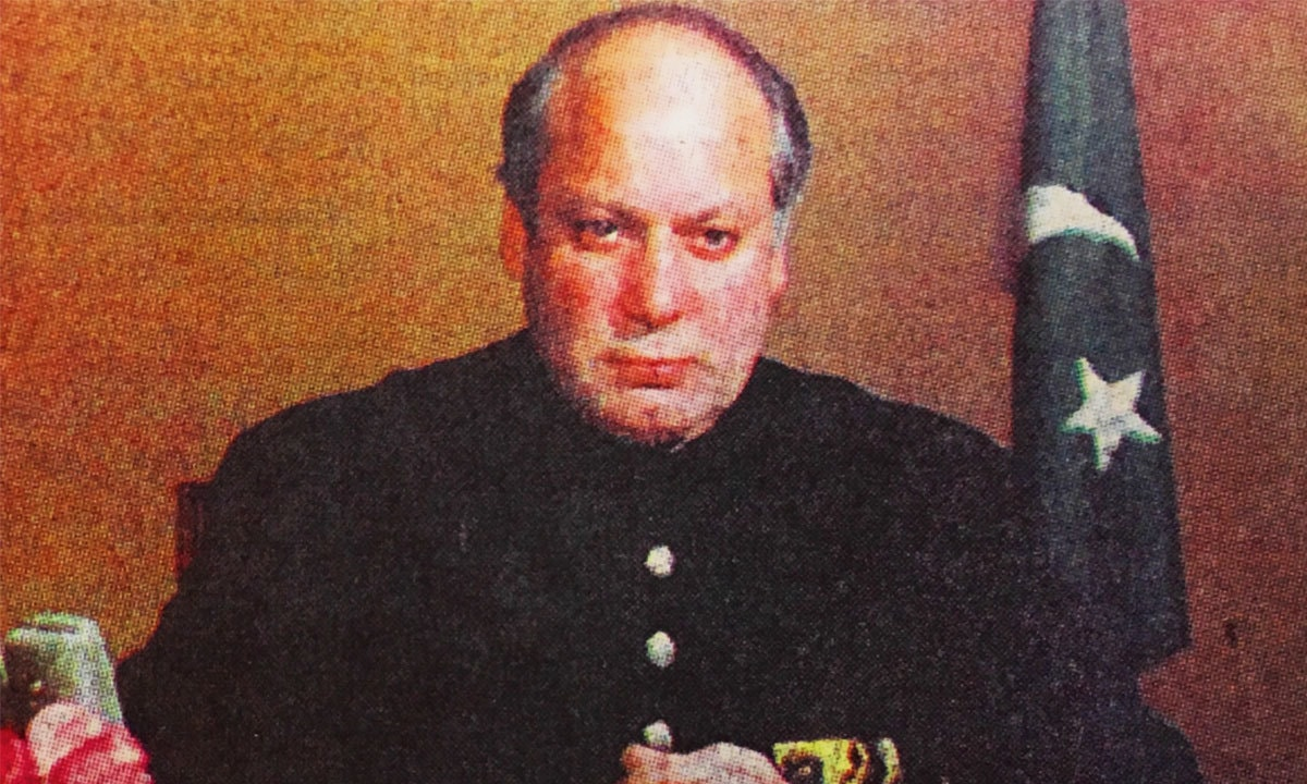 Nawaz Sharif addressing the nation on November 30, 1997 | The Herald archives