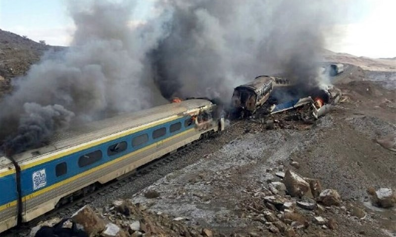 Damaged trains following an accident in the Semnan province. —AFP