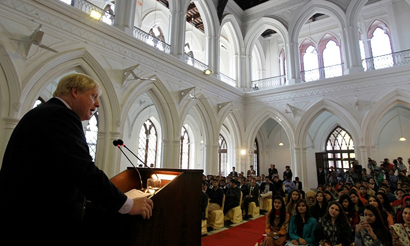 Boris Johnson delivers a speech in the main hall of the Government College University.— Reuters