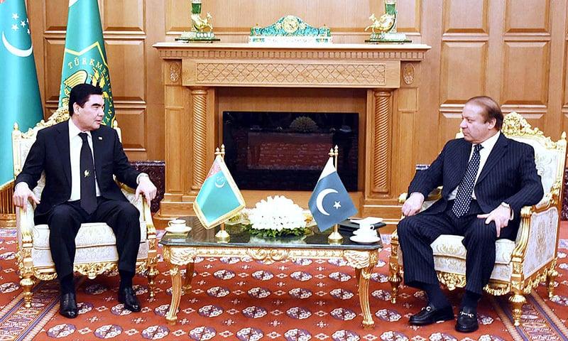 Prime Minister Nawaz Sharif in a meeting with President of Turkmenistan Gurbanguly Berdimuhamedow. — APP