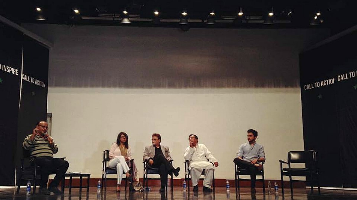 The panel on cinema on TV moderated by Saqlain Zaidi - Photograph courtesy Pakistan Calling Facebook page