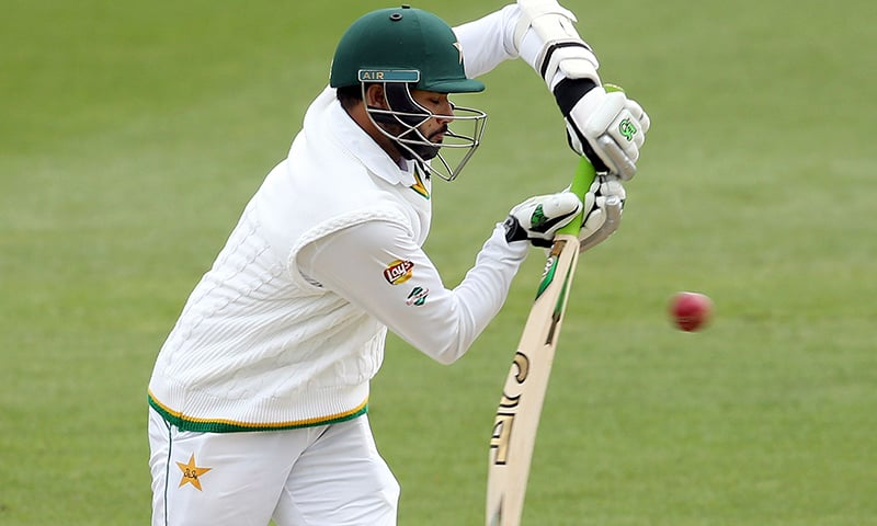 Pakistan's Azhar Ali hits the ball during day five of the second Test. ─AFP