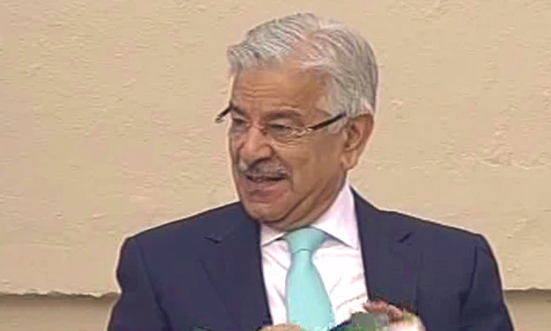Khawaja Asif at the ceremony. —DawnNews