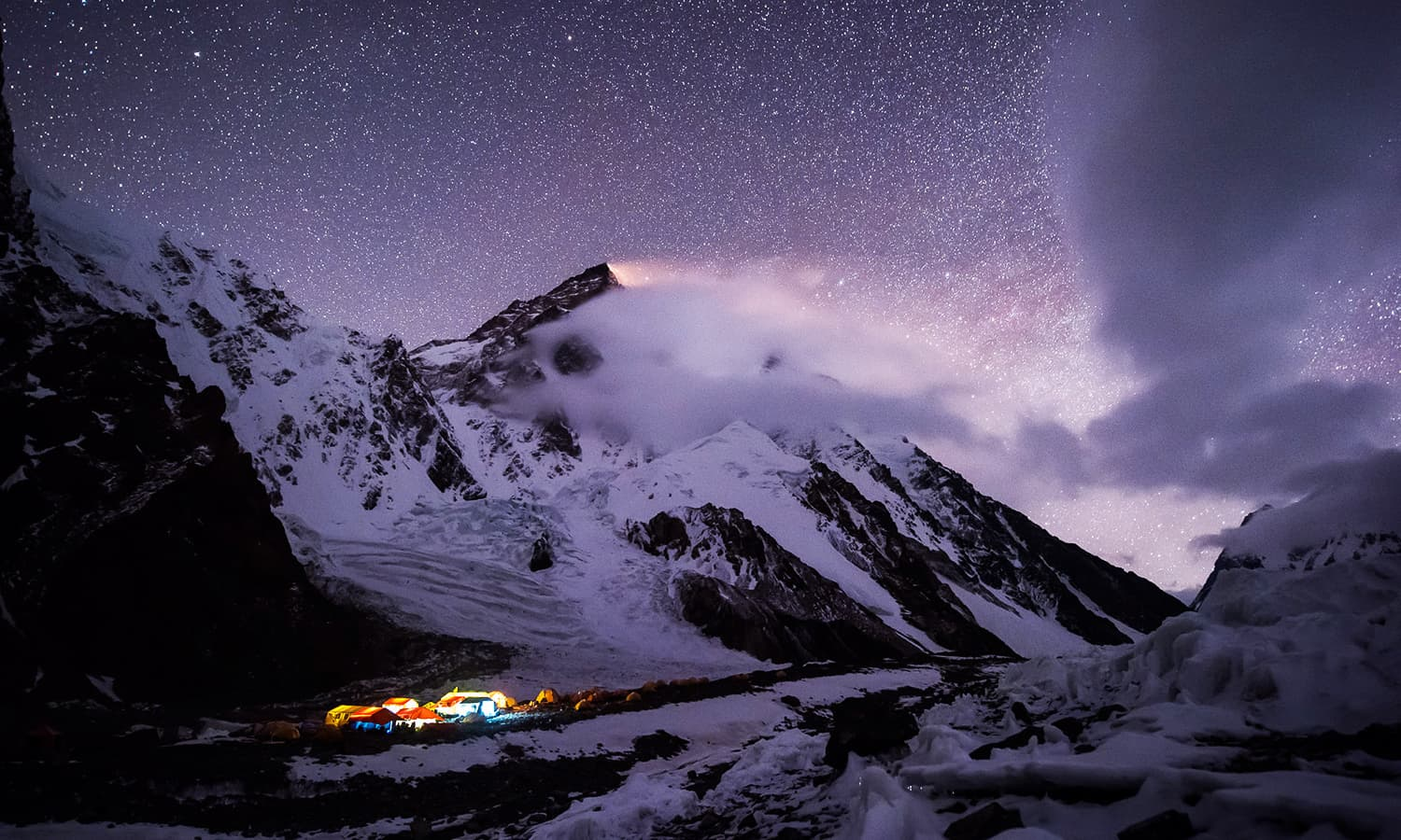A shot of the starry night and the camps. — Photo by Petr Jan Juračka