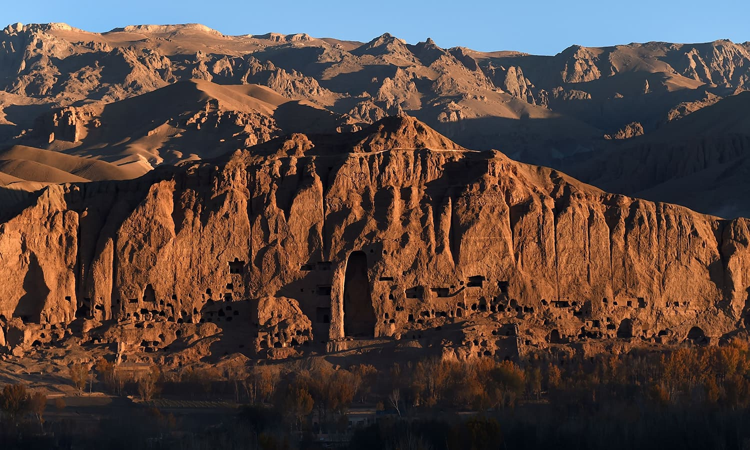 The site of the giant Buddha statues, which were destroyed by the Taliban in 2001. ─AFP